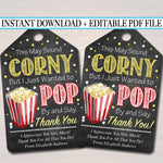 Teacher & Staff Appreciation Popcorn Thank You Tags - Printable