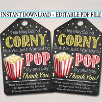 EDITABLE Popcorn Thank You Tags, Teacher Appreciation, Treat Tag INSTANT DOWNLOAD Printable Chalkboard Tags, Volunteer Staff Thank You Label