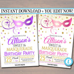 EDITABLE Masquerade 16th Birthday Invitation, Printable Party Invite Glam Birthday Digital Invite Vip Mask Movie Star Party INSTANT DOWNLOAD
