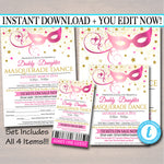 EDITABLE ANY COLOR Masquerade Daddy Daughter Dance Set, Flyer Invitation Ticket Masquerade Ball, Quincenera Ball, Pto, Pta Instant Download