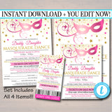 Masquerade Daddy Daughter Dance Set, Flyer Invitation Ticket Masquerade Ball, Quincenera Ball, Pto, Pta