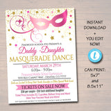 EDITABLE ANY COLOR Masquerade Daddy Daughter Dance Flyer, Printable Invitation Masquerade Ball, Quincenera Ball, Pto, Pta Instant Download
