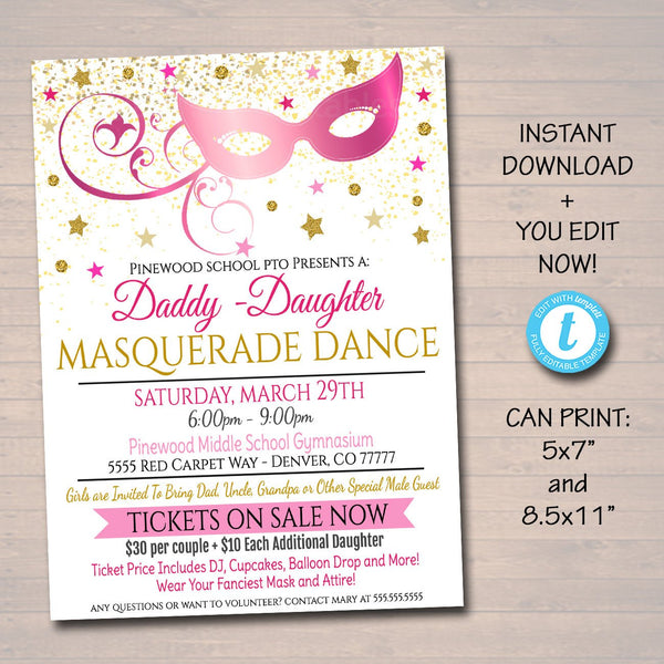 COLOR Masquerade Daddy Daughter Dance Flyer, Printable Invitation Masquerade Ball, Quinceanera Ball, Pto, Pta