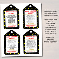 EDITABLE Auction Basket Tags, Fundraiser Digital Invite, Black Tie Gala, Silent Auction Labels, Church School Pto Pta Event INSTANT DOWNLOAD