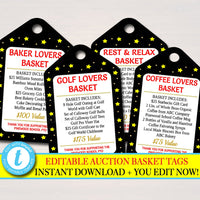 Auction Basket Tags, Fundraiser  Invite, Black Tie Gala, Silent Auction Labels, Church School Pto Pta Event