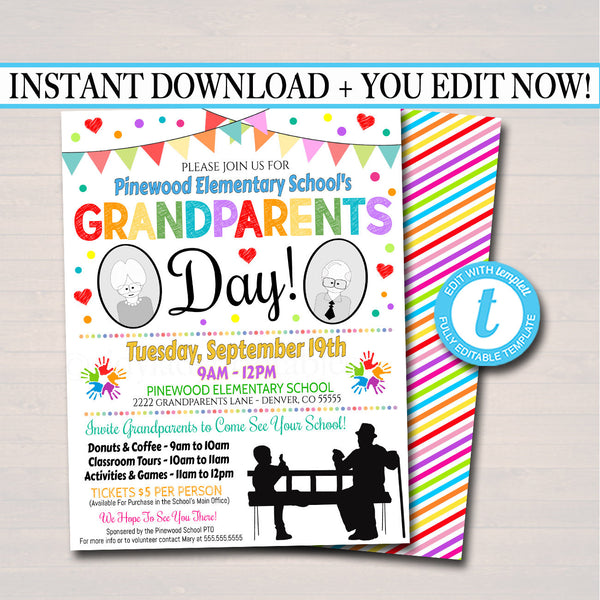 EDITABLE Grandparents Day Invite Breakfast Social Printable PTA PTO Flyer School Fundraiser Poster, Family Party School Printable Invitation