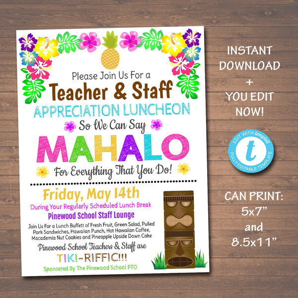 EDITABLE Mahalo Teacher Appreciation Staff Invitation, Hawaiian Luau Theme Printable Appreciation Week, Luncheon Breakfast Flyer PRINTABLE