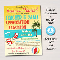 EDITABLE Teacher Appreciation Staff Invitation, Beach Hawaiian Luau Theme, Printable Appreciation Week, Luncheon Breakfast Flyer PRINTABLE