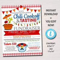 EDITABLE Chili Cookoff Dinner Fundraiser Flyer Poster Set, pto pta Church Community School Benefit Event, Gumbo Soup Invite INSTANT DOWNLOAD