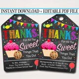 Printable Thank You Favor Tags, Appreciation Week Labels Printable INSTANT + EDITABLE Sweet Gift Candy Cookie Treat Tag, Candy Sweet Theme