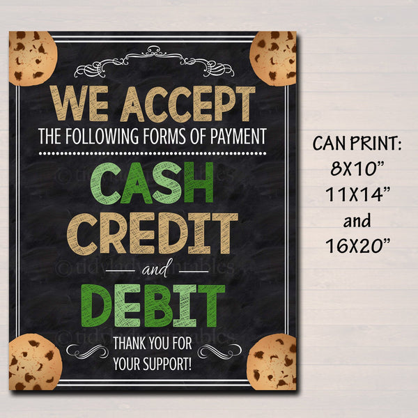 It is a graphic of Clever We Accept Credit Card Signs Printable