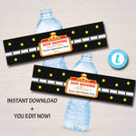 EDITABLE Movie Party Water Bottle Labels & VIP Hollywood Party Water Bottle Labels, Birthday Cinema Printable Decor, Red Carpet Theme Party
