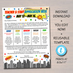 Editable Superhero Theme Teacher Appreciation Staff Invitation Newsletter Printable Appreciation Week Event Take Home Flyer INSTANT DOWNLOAD