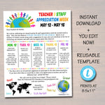 Editable World Theme Teacher Appreciation Staff Invitation Newsletter, Printable Appreciation Week Events, Take Home Flyer, INSTANT DOWNLOAD