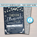 EDITABLE ANY AGE Denim and Diamonds Birthday Party Invitation, Suprise Party Digital Invite, Ladies Night Country Party, Instant Download