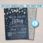 EDITABLE Denim and Diamonds Bachelorette Party Invitation, Bridal Shower Wedding Digital Invite, Ladies Night Country Party INSTANT DOWNLOAD