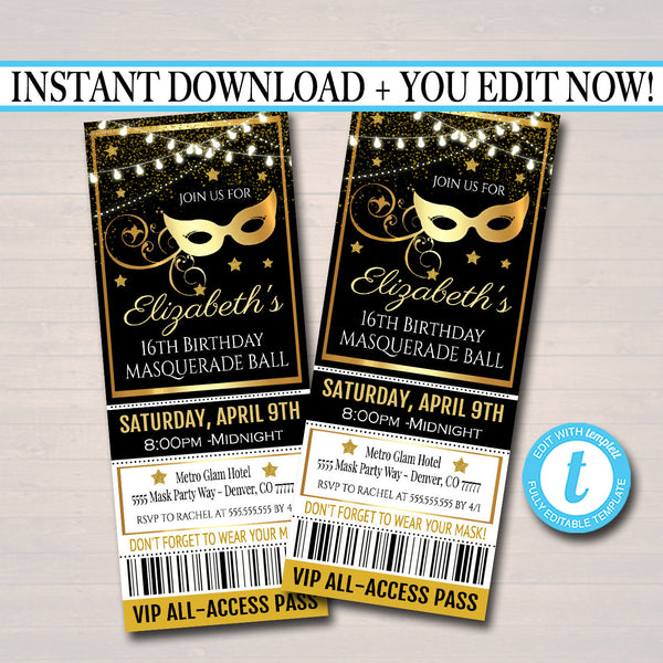 EDITABLE Masquerade Ball Ticket Invitation, Birthday Party Invite Glam Formal Prom Digital Invite, Red Carpet Party Invite INSTANT DOWNLOAD