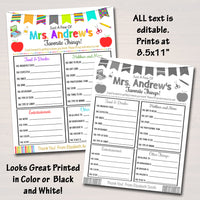 Editable Teacher Favorites Survey, Teacher Appreciation Fillable, Printable Back To School, All About My Teacher Worksheet, INSTANT DOWNLOAD