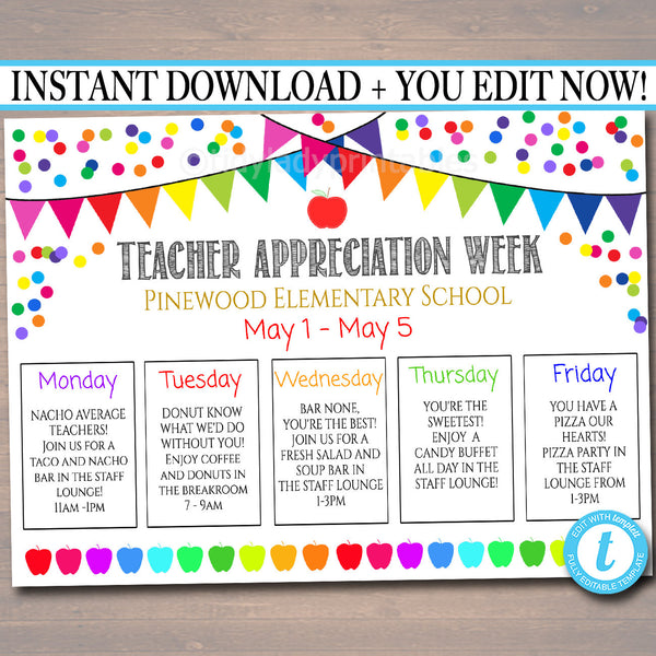 EDITABLE Teacher Appreciation Week Itinerary Poster, Digital File, Appreciation Week Schedule Events, INSTANT DOWNLOAD Fundraiser Printables