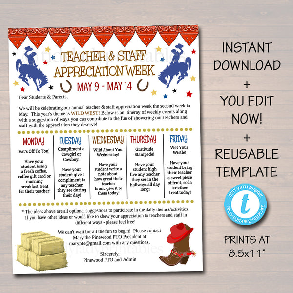 Editable Western Theme Teacher Appreciation Staff Invitation Newsletter, Printable Appreciation Week Events Take Home Flyer INSTANT DOWNLOAD