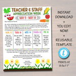 Editable Farmers Market Theme Teacher Appreciation Invitation Newsletter Printable Appreciation Week Events Take Home Flyer INSTANT DOWNLOAD