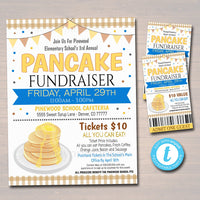 Editable Pancake Breakfast Fundraiser Flyer Printable Ticket Set