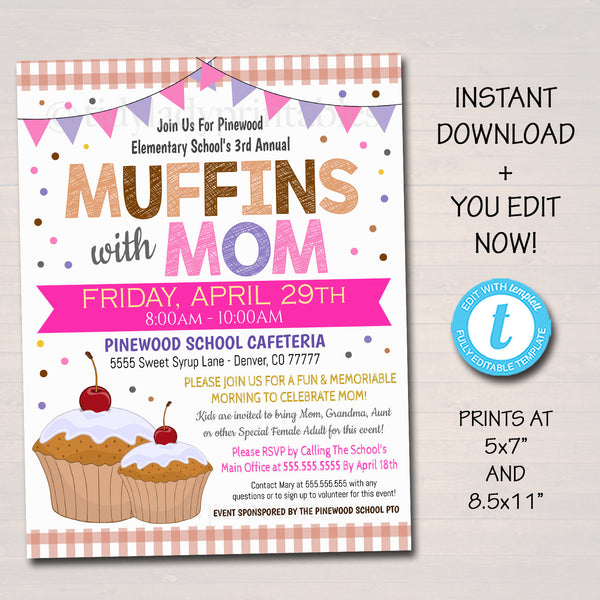 Muffins With Mom Event Invite - Editable Template