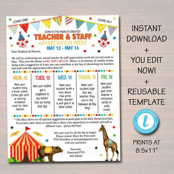 Editable Circus Theme Teacher Appreciation Big Top Invitation Newsletter Printable Appreciation Week Events Take Home Flyer INSTANT DOWNLOAD