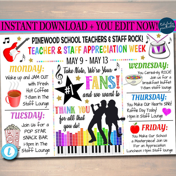 EDITABLE Music You Rock Theme Teacher Appreciation Week Itinerary Poster Digital Week Schedule Events INSTANT DOWNLOAD Fundraiser Printables