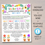 Editable Floral Bloom Theme Teacher Appreciation Invitation Newsletter Printable Appreciation Week Events Take Home Flyer INSTANT DOWNLOAD