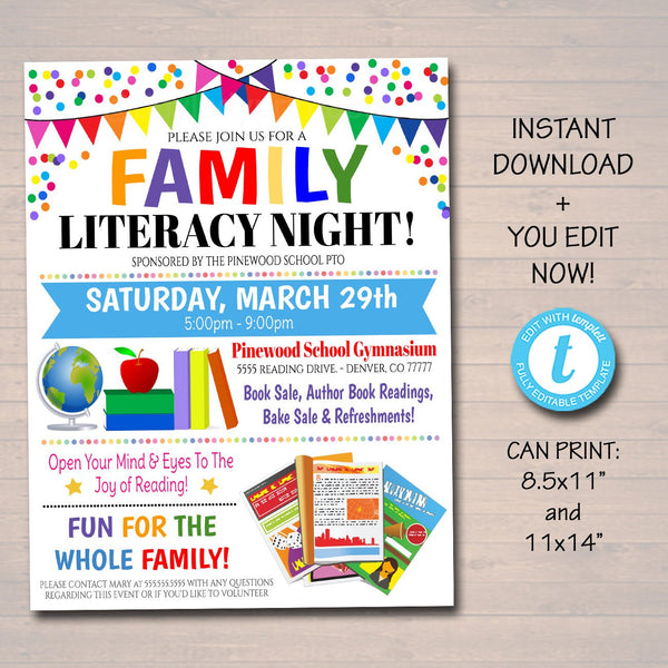 EDITABLE Family Literacy Night Flyer, Printable PTA PTO Flyer, School Church Fundraiser, Reading Book Sale Event Poster, Digital Printable