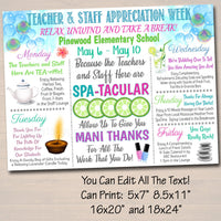 EDITABLE Spa Themed Teacher Appreciation Week Itinerary Poster, Calm Zen Relax Theme, Staff Week Schedule Events Invitation INSTANT DOWNLOAD