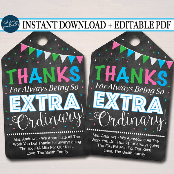 Printable Thank You Tags - Teacher & Staff Appreciation Printable