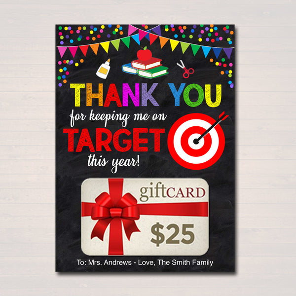 EDITABLE Gift Card Holder, Thanks for Keeping me on Target, INSTANT DOWNLOAD, Printable Teacher Appreciation, End of Year Gift From Student