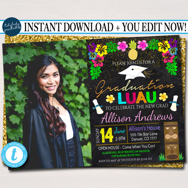 Editable Luau Graduation Invitation, Chalkboard Printable College Graduate Tropical Invite, High School Senior Graduate INSTANT DOWNLOAD
