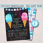 EDITABLE Ice Cream Gender Reveal Summer BBQ Invitation, Baby Sprinkle, Team Pink Blue, Shower Grill Out Celebration, Here's The Scoop Invite