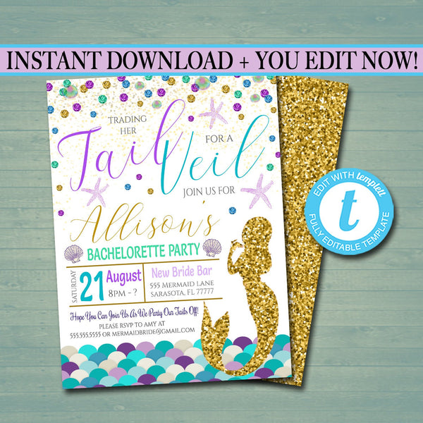 Mermaid Bachelorette Party Invitation Glitter Gold Watercolor Beach Party Boho Chic, Trading Her Tail For The Veil