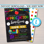 Teacher Appreciation Staff Luncheon Invitation, Thank You Printable,