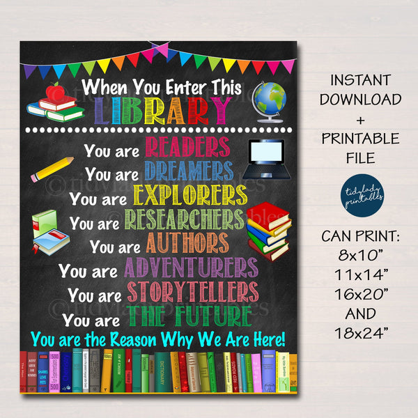 When You Enter This School Library Printable Poster