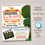 Movie Night Flyer - Movies In The Park Fundraiser Flyer Editable Template