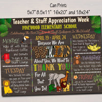 EDITABLE Jungle Themed Teacher Appreciation Week Itinerary Poster Zoo Theme Appreciation Week Schedule Events INSTANT DOWNLOAD Printable