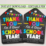EDITABLE Thank You Tags, Teacher Appreciation Thank You Note, INSTANT DOWNLOAD Printable Chalkboard Tags, End Of School Year Teacher Gifts