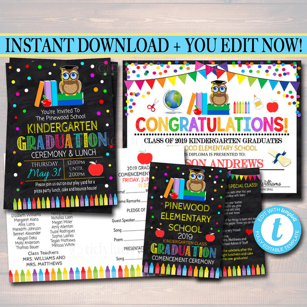 25% OFF Huge Graduation Ceremony Set, Invitation, Program Template, Diploma Certificate ANY GRADE, Printable Kids School, Instant Download