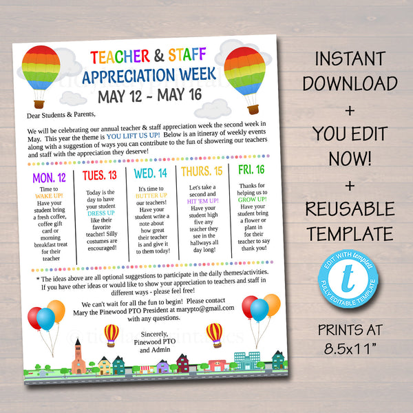 Editable Up Theme Teacher Appreciation Staff Invitation Newsletter, Printable Appreciation Week of Events, Take Home Flyer, INSTANT DOWNLOAD