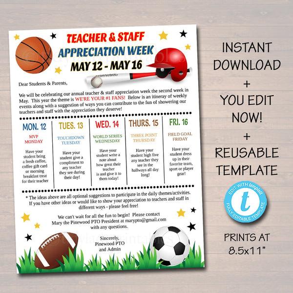 Editable Sports Theme Teacher Appreciation Staff Invitation Newsletter, Printable Appreciation Week Events, Take Home Flyer INSTANT DOWNLOAD