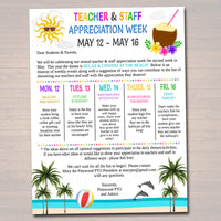 Editable Beach Theme Teacher Appreciation Staff Invitation Newsletter, Printable Appreciation Week Events, Take Home Flyer, INSTANT DOWNLOAD