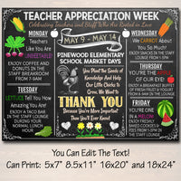 EDITABLE Farmers Market Themed Teacher Appreciation Week Itinerary Poster Farm Appreciation Week Schedule Events, INSTANT DOWNLOAD Printable