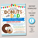 EDITABLE Donuts With Dad Invitation, Printable PTA Flyer, Father's Day Event Flyer, School Appreciation Fundraiser Digital Breakfast Invite