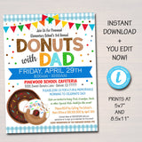 Donuts With Dad Event Invitation - Editable Template