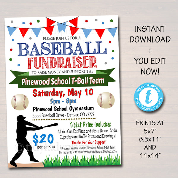 Baseball Team Fundraiser Event Flyer - Editable Template